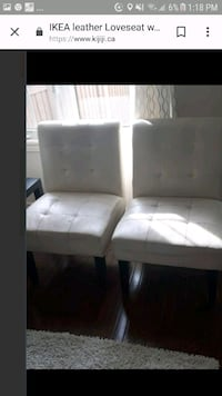 white leather tufted armless chair Milton, L9T 7R2