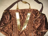 BROWN GOLDEN STRIP METALLIC DUFFEL BAG