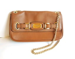 NEW MICHAEL KORS Sm Brown Leather Purse with Chain