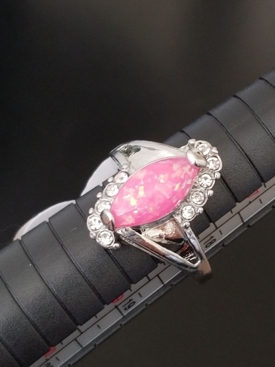 Photo Silver and Pink Fire Opal Ring Size 8