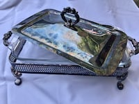 Anchor Hocking serving dish and holder.  Can be polished or left vintage looking.  This a very old piece   Alexandria, 22310