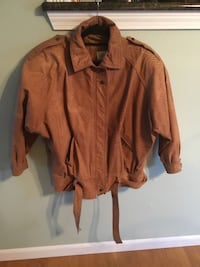Womens leather bomber jacket, brown, Size S oversized Howell, 07731