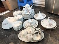 Vintage French Limoges dinner set for 12, tureens, teapot cup . Only missed one dinner plate. Beautiful scallop design, pristine condition no chip, crack or hairline.  Hamilton, L9A 1T3