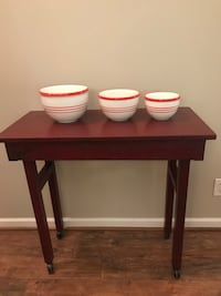 Red Wooden Table with Casters  Wake Forest, 27587