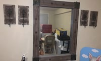 Heavy rustic mirror and sconcers