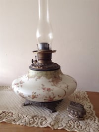 Antique floral ceramic oil table lamp and lighter
