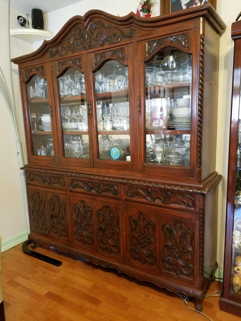 2 Pieces Lighted China Cabinet. Hand Carved Philippine Mahogany, 6 Feet  Wide 83 Inches Tall And 18 Inches Deep