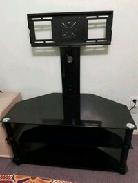 black glass top TV stand with mount