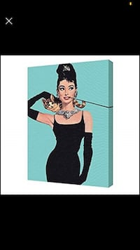 Audrey Hepburn Breakfast at Tiffanys Turquoise Stretched Canvas