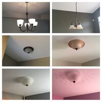 Six assorted ceiling lights and chandeliers. mint condition