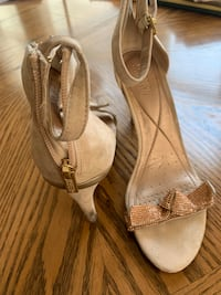 Tan suede and rose gold glitter heels Chesapeake, 23321