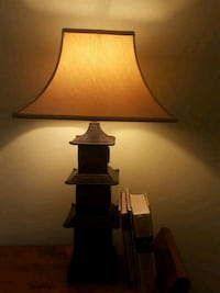 black wooden base with white lampshade table lamp Miami, 33130