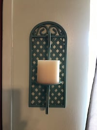 SET OF 2 WROUGHT IRON CANDLE WALL DECOR VINTAGE SAGE Bakersfield, 93308