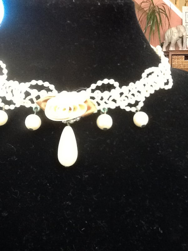 Choker Jewelry Beaded Macrame Ivory 1