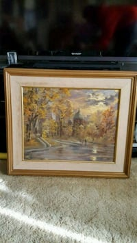 brown wooden framed painting of house Toronto, M3H