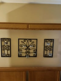 Decorative 3 piece wall candle sconce
