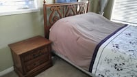 Solid Oak bed frame and 2 side tables (pick up only) - mattress not included Ajax, L1T 4Z8