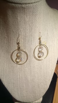 Gold Hoops Earrings with Clear Crystal beads  Minneapolis, 55414