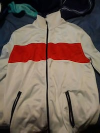 white and red zip-up jacket Bryan