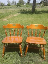 two brown wooden windsor chairs London