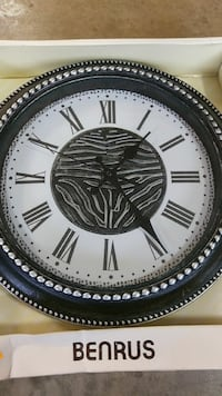 round white and black wall clock Boyds, 20841