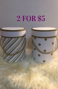 White & Gold Cylinder gift boxes: Brand New