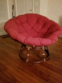brown wooden framed red padded papasan Columbia