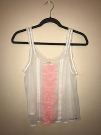 Hollister - Sheer White Embroidered - Tank Top San Diego, 92108