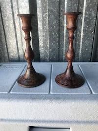 Two brown  candle holders