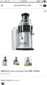 Breville 2-Speed Fountain Plus Juicer BE98XL Toronto, M5J 3A7