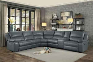 Falun Gray Leather Gel Power Reclining Sectional |