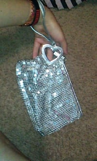 Silver sequin wrist clutch De Beque, 81630