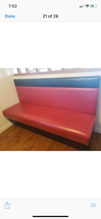 Red bench with storage