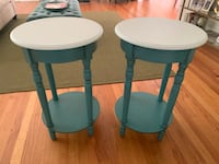 Two Tall Teal & White Side Accent Tables or Nightstands Watchung, 08805