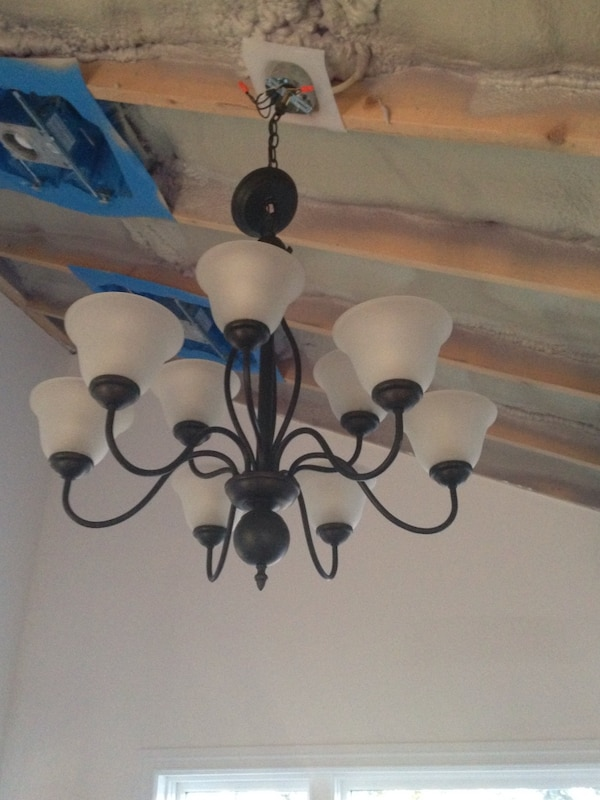black metal framed white frosted shade uplight chandelier 6fac8323-54aa-4216-88ac-c257a739d3a6