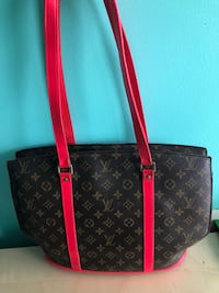 Black and brown louis vuitton leather tote bag