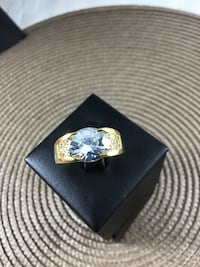 Size 10 White Sapphire Ring, 18k yellow gold filled Chesapeake, 23320
