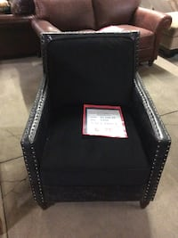 Lazzaro Black Leather Chair with Nailhead Trim