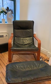 Black leather lounge chair and ottoman New York, 10014