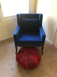 Blue velvet chair and ottoman
