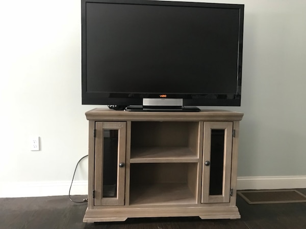 grey/brown wooden tv stand