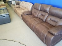 brown leather 3-seat sofa Elkhorn