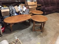 Brown wooden coffee and end tables Reidsville, 27320