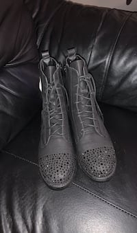 Black Rhinestones ankle boots sparkle leather combat booties Richmond Hill, L4E 0A3