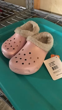 pair of white-and-pink Crocs rubber clogs Laurel, 20707