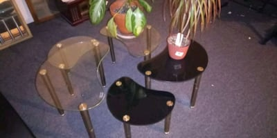 Chrome and glass tables