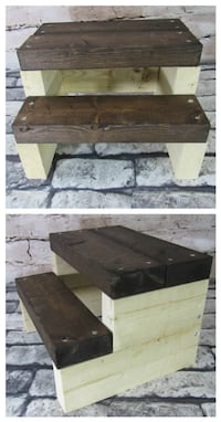 New Rustic Farmhouse Steps Brown Stain  Mission