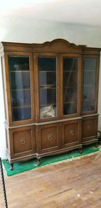 brown wooden framed glass display cabinet Queens, 11374