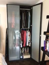 "IKEA PAX Wardrobe with 2 frosted doors & Shoe Rack  Dimensions:  92""1/2 tall by 39"" wide x 24"" deep  In Excellent Condition   Offered for only $299 Toronto, M5P 2V5"