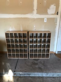 two brown wooden cubby shelves Commerce Township, 48390